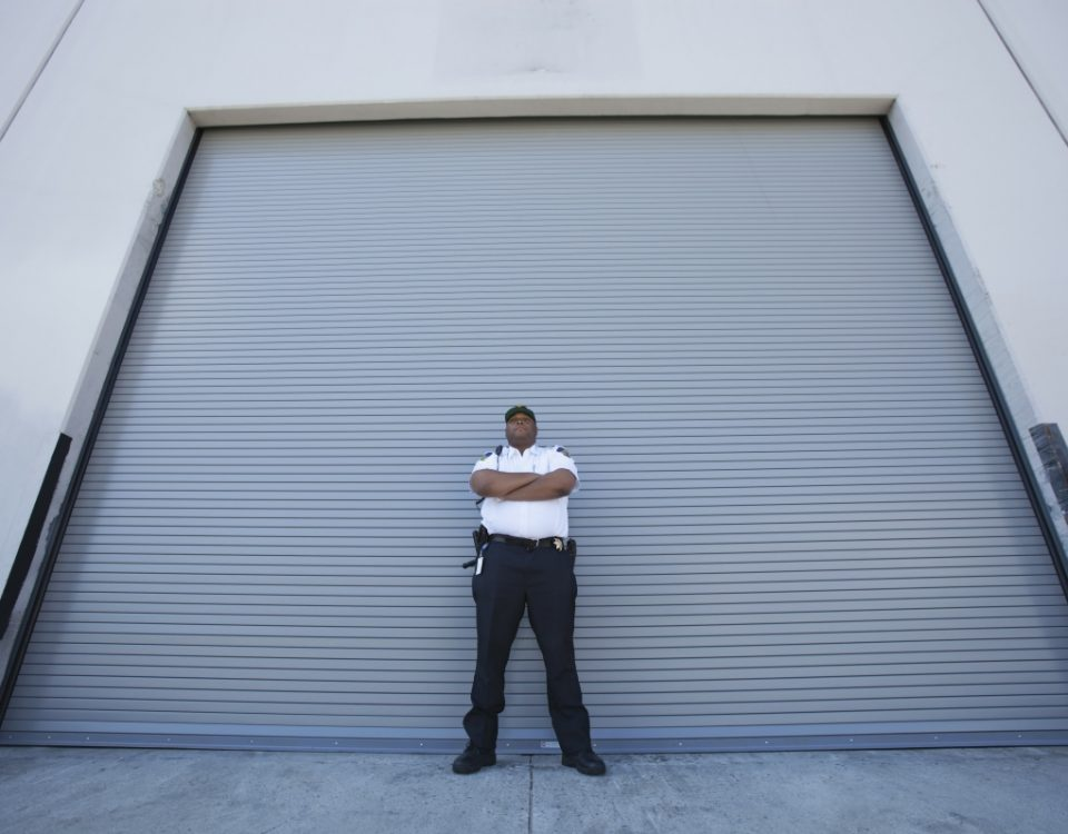 Security Guard in front of garage door.