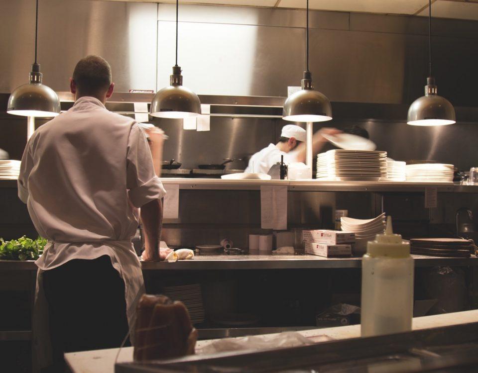 Restaurant staff on kitchen floor.