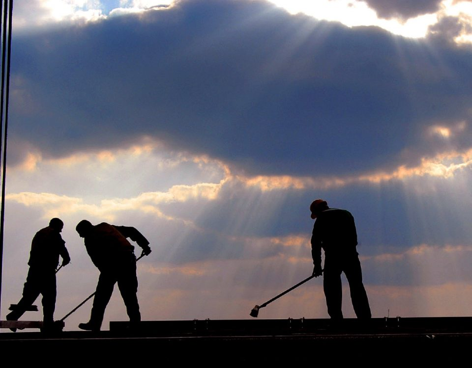Clean up staff under light rays from the sun